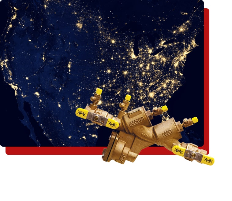 graphic of the united states from space with hold lights and a water nozzle